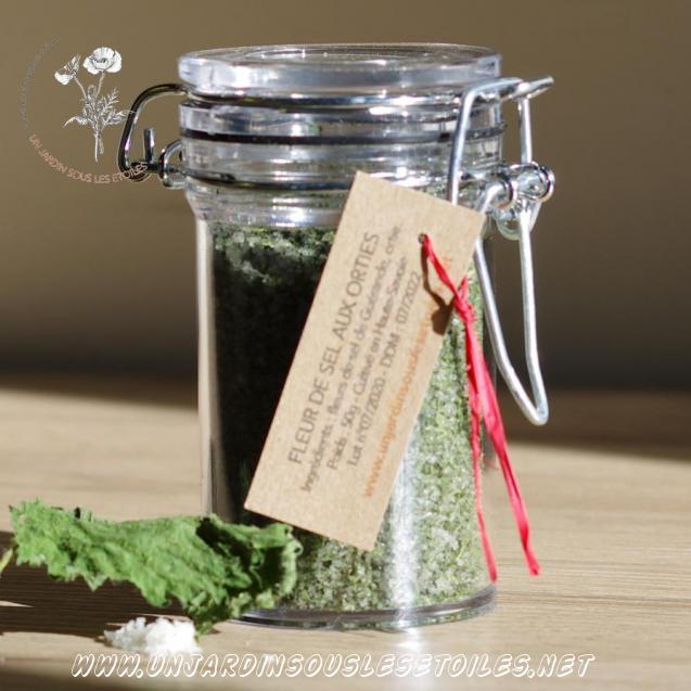 Fleur de sel de Guérande aux orties : Sels aromatisés ortie Sel de Guérande