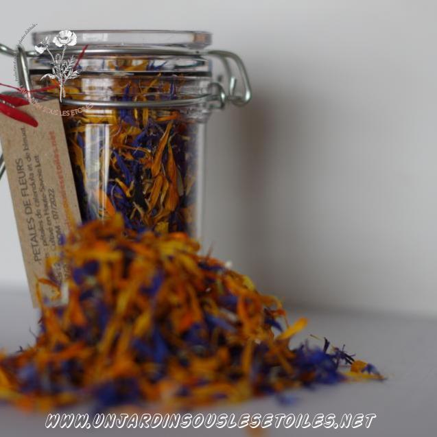 Pétales de fleurs : Tisanes composées bleuet, calendula